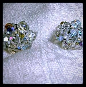 Jewelry - Vintage Laguna Crystal Beaded Clip Earrings